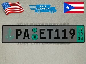Euro License Plate Embossed Gray Background With Black Color Numbers Tablilla