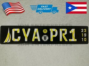Euro License Plate Embossed Black Background With Multi Colors Numbers Tablilla