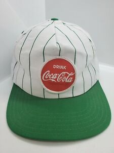 Vintage 1980s Green Striped Coca Cola Patch Snapback Hat Cap USA Made