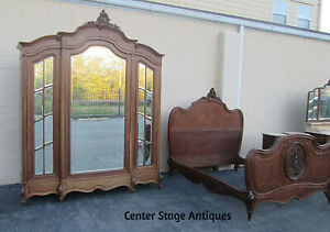 57728 French Bedroom Set Bed Wardrobe Dresser With Mirror And 2 Nightstands