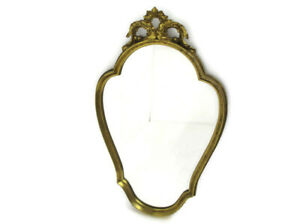 Large Ornate Oval Wood Plaster Wall Hanging Mirror Hollywood Regency Beautiful