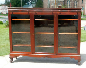 Mahogany Three Door Bookcase Adjustable Shelves Circa1900
