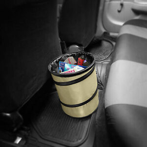 Auto Car Trash Can Portable Collapsible Waterproof Large Beige