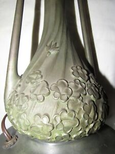 Miller Lamp Co Slag Glass Base Heavy Bronze Rare Beautiful Patina