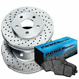 Fit 1979 1981 Toyota Pickup Front Psport Drilled Brake Rotors ceramic Brake Pads
