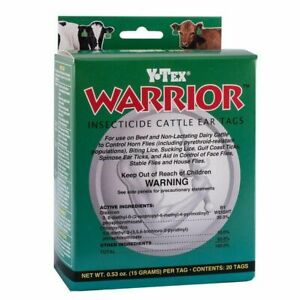 Y tex 2011000 Warrior 20 Tags Per Box Insecticide Cattle Ear Tags