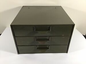 Vintage Heavy Duty Green Metal Lyon 3 Drawer Parts Storage Cabinet Bin Nice