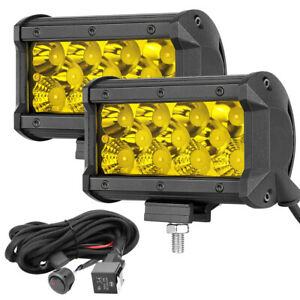 Wiring Kit 2x 5 Led Fog Work Light Bar Combo 3000k Driving Off Road Tri Row