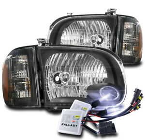 For 2005 2006 Toyota Tundra Double Cab sequoia Black Headlights W 10k Xenon Hid