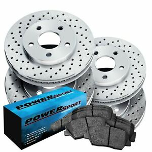 Fit Audi 5000 90 80 Quattro Front Rear Drilled Brake Rotors Ceramic Brake Pad
