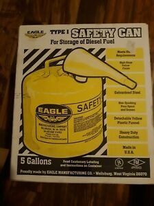 Eagle Type 1 Safety Diesel Can 5 Gallon With Funnel