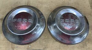 Set Of Two 2 Vintage Ford dog Dish Hubcaps 1952 1953 1954
