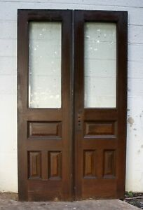48 X84 Pair Antique Vintage Brownstone Double Door Oak Wood Wooden Window Glass