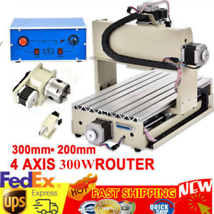 4 Axis 3020 Cnc Router Engraver Vfd Engraving Drilling Milling Machine 3d Cutter