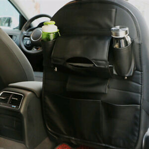 Black Leather Car Seat Back Bag Organizer Storage Phone Holder Multi pocket
