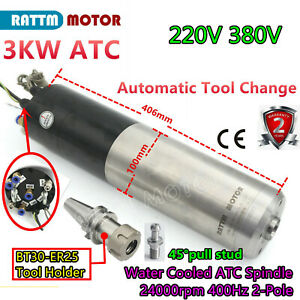 3kw Atc Automatic Tool Changer Water Spindle Motor 220 380v bt30 Tool pull Stud