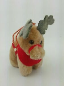 "McDonalds Plush Reindeer Coca Cola Xmas Tree Ornament 5"" 1985 Santa Clause T26"