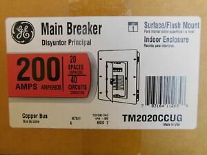 General Electric Nsb Tm2020ccug Main Breaker Panel 200a 120 240vac 1ph 3wire 40c
