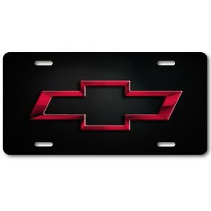 Chevy Chevrolet Art Maroon Bow Tie Grill Dark Aluminum License Plate Tag