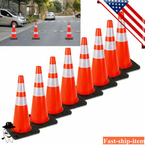 28 Pvc Traffic Cones With Safety Road Reflective Collar 8pcs Pack Orange