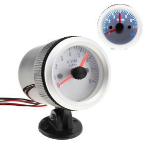 2 52mm 0 8000rpm Blue Light Tachometer Tach Gauge With Holder Cup For Auto Car