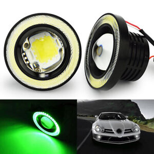 2x 3 5 Led Tube Fog Light Bulb Projector Car Lamp Green Angel Eye Halo Ring Drl