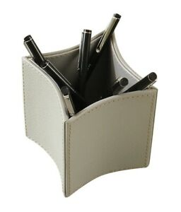 Global Views Home Office Folded Leather Pencil Cup ivory 9 92598