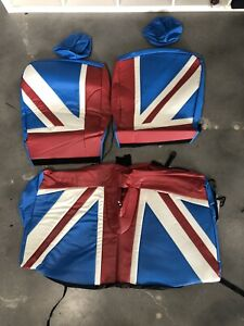 07 13 Mini Cooper S Hatchback R56 Front And Rear Union Jack Seat Cover Set