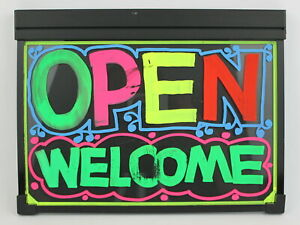 Led Message Board Lighted Door Sign We re Open Closed Tempered Glass 11x7 Ac dc