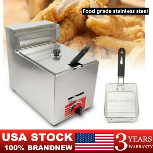Commercial Countertop Gas Fryer Deep Fryer Restaurant Stainless Fried Basket New