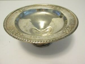 Antique Towle Sterling Silver 7 Compote Dish Leaf Edge Rose Rim 482 Weighted