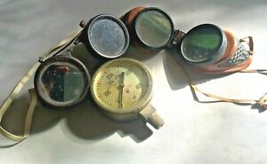 Vintage Tinted Welding Goggles Usa 2 Pairs And Vintage Welding Bottle Gauge