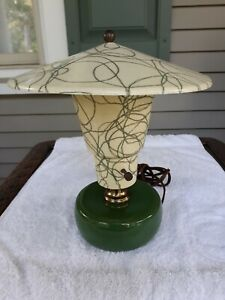 Vintage Mid Century Modern Table Lamp Retro W Original Fiberglass Shade Mint