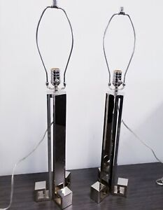 Pair Visual Comfort Co Studio Table Lamps Art Deco Polished Nickle