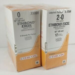 Lot Of 2x 36x2 Ethibond Excel Braided Sutures 18 X185h X186h New Sealed