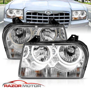 dual Led Ring 2005 2010 Chrysler 300 Chrome Halos Replacement Headlights Set