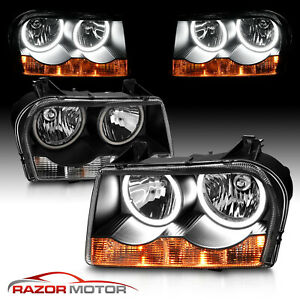 Hi Power Led Halo Rings Black Headlights Head Lamps For 2005 10 Chrysler 300