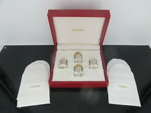 Cartier Sterling Silver Miniature Salt Pepper Shaker 4pc Set In Red Case