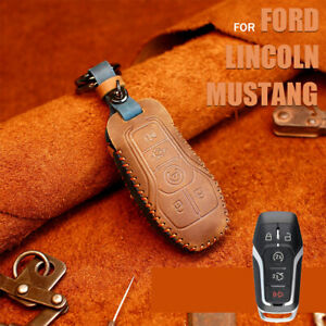 Classic Leather Car Key Fob Case Cover For Ford Edge Fusion F150 Mustang Lincoln
