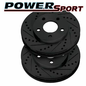 Brake Rotors front powersport Black Drilled Slotted saab 9 3 1999 2002 Viggen