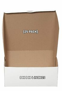 25 Pack 8 X 8 X 4 In White Bakery Pastry Boxes For Cakes And Gifts