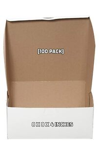 100 Pack White Bakery Pastry Boxes 8 X 8 X 4 Inches