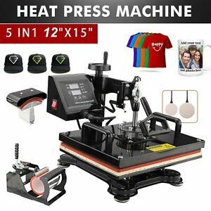 15 x15 5in 1 Heat Press Machine Digital Transfer Sublimation T shirt Mug Hat Us