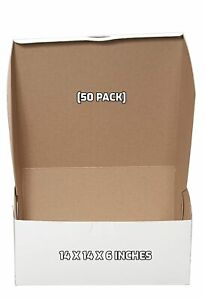 50 Pack White Bakery Pastry Boxes 14 X 14 X 6 Inches