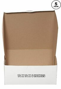 5 Pack White Bakery Pastry Boxes 14 X 14 X 6 Inches