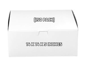 150 Pack White Bakery Pastry Boxes 14 X 14 X 5 Inches