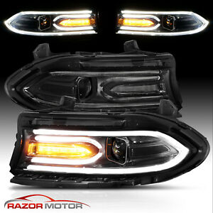For 2015 2020 Dodge Charger Dual Led Tube Square Beam Projector Headlights Pair