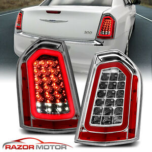For 2011 2014 Chrysler 300 Sedan Chrome Full Led W Sequential Signal Taillight