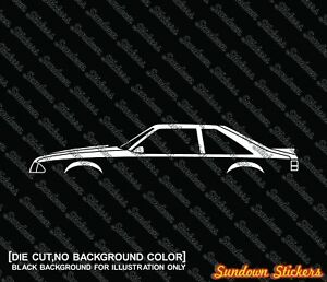 2x Car Silhouette Stickers For Ford Mustang Gt 5 0 1986 93 Fox Body Hatch