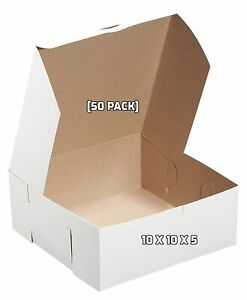50 Pack 10 X 10 X 5 In White Kraft Paperboard Bakery Pastry Boxes For Cakes